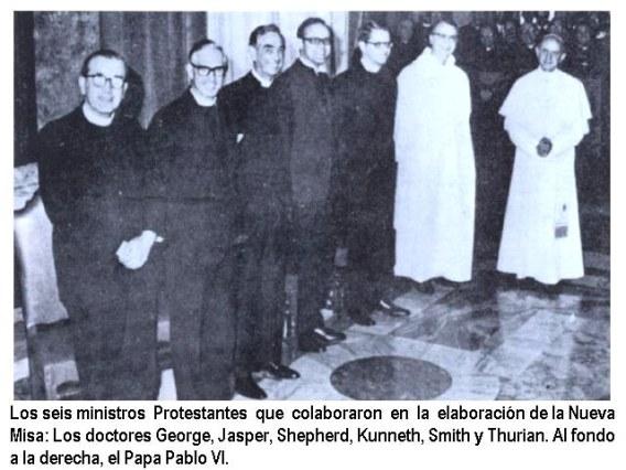 Los seis ministros protestantes (uno masón reconocido) junto con Pablo VI