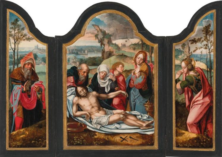 Lamentación sobre Cristo muerto, por Pieter Coecke (siglo XVI). (Museo de Bilbao).