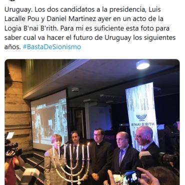 Uruguay (2019) Los dos candidatos a la presidencia (Luis Lacalle Pou y Daniel Martinez) (y un sacerdote) ayer en un acto de la Logia B'nai B'rith (2)