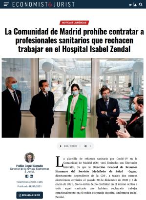 """La Comunidad de Madrid prohíbe contratar a profesionales sanitarios que rechacen trabajar en el Hospital """"de pandemias"""" Isabel Zenda (enero, 2021)"""