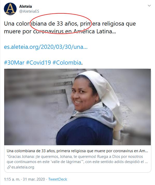 10b Screenshot_2020-04-02 (16) Aleteia en Twitter Una colombiana de 33 años, primera religiosa que muere por coronavirus en Amé[...]