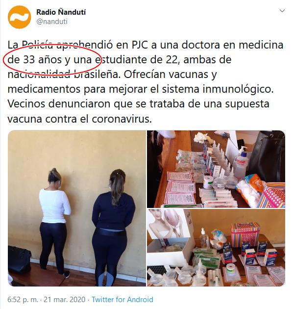 10e Screenshot_2020-04-02 (16) Radio Ñandutí en Twitter La Policía aprehendió en PJC a una doctora en medicina de 33 años y una[...]