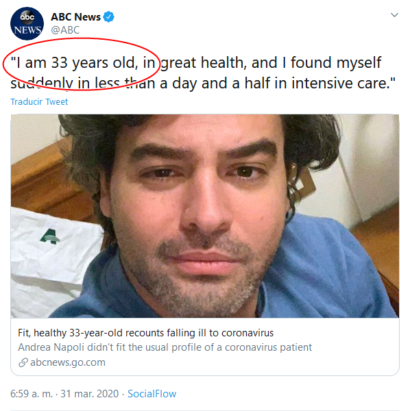 12 Screenshot_2020-04-02 (18) ABC News en Twitter I am 33 years old, in great health, and I found myself suddenly in less than[...]