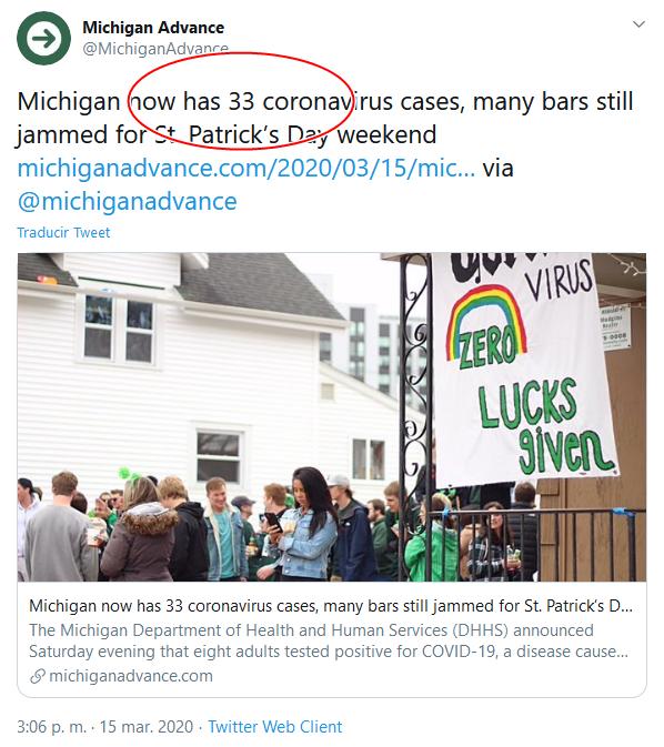 12d Screenshot_2020-04-02 (18) Michigan Advance en Twitter Michigan now has 33 coronavirus cases, many bars still jammed for St[...]