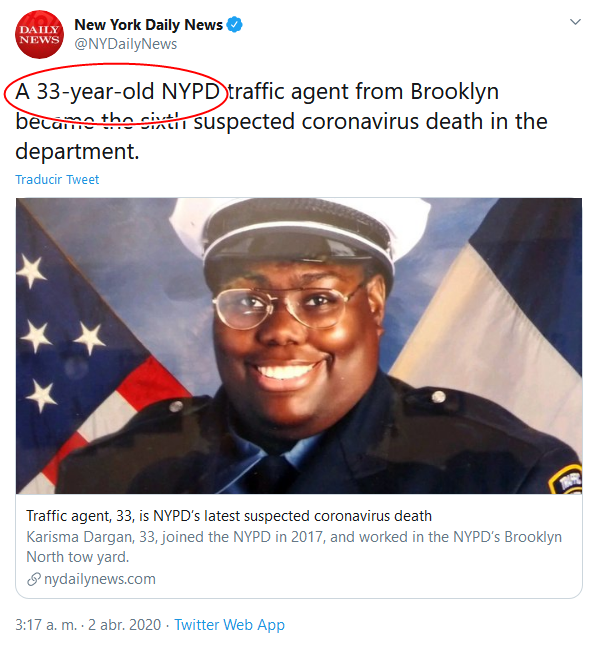 13 Screenshot_2020-04-02 (18) New York Daily News en Twitter A 33-year-old NYPD traffic agent from Brooklyn became the sixth s[...]