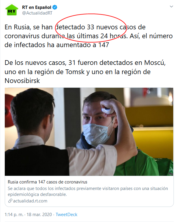 16a Screenshot_2020-04-02 (16) RT en Español en Twitter En Rusia, se han detectado 33 nuevos casos de coronavirus durante las ú[...]