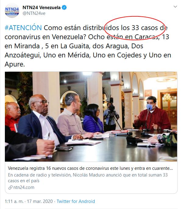 23 Screenshot_2020-04-02 (16) NTN24 Venezuela en Twitter #ATENCIÓN Como están distribuidos los 33 casos de coronavirus en Vene[...]