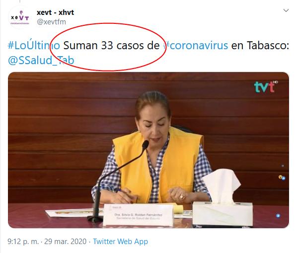 26b Screenshot_2020-04-02 (16) xevt - xhvt en Twitter #LoÚltimo Suman 33 casos de #coronavirus en Tabasco SSalud_Tab https t co[...]