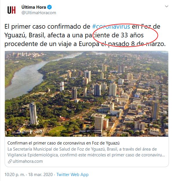 3 Screenshot_2020-04-02 (16) Última Hora en Twitter El primer caso confirmado de #coronavirus en Foz de Yguazú, Brasil, afect[...]