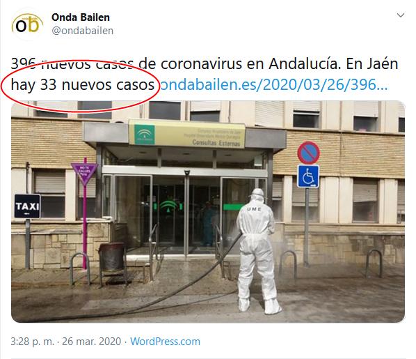 35 Screenshot_2020-04-02 (16) Onda Bailen en Twitter 396 nuevos casos de coronavirus en Andalucía En Jaén hay 33 nuevos casos [...]