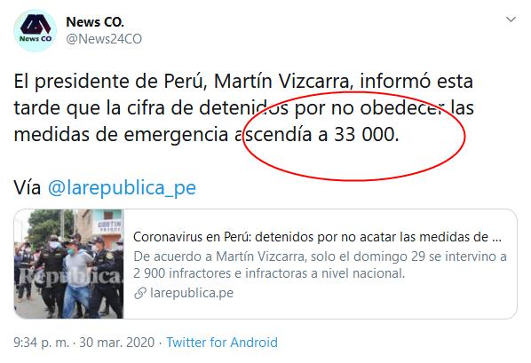 39 Screenshot_2020-04-02 (18) News CO en Twitter El presidente de Perú, Martín Vizcarra, informó esta tarde que la cifra de de[...]