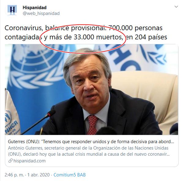 44 creenshot_2020-04-02 (16) Hispanidad en Twitter Coronavirus, balance provisional 700 000 personas contagiadas y más de 33 [...]