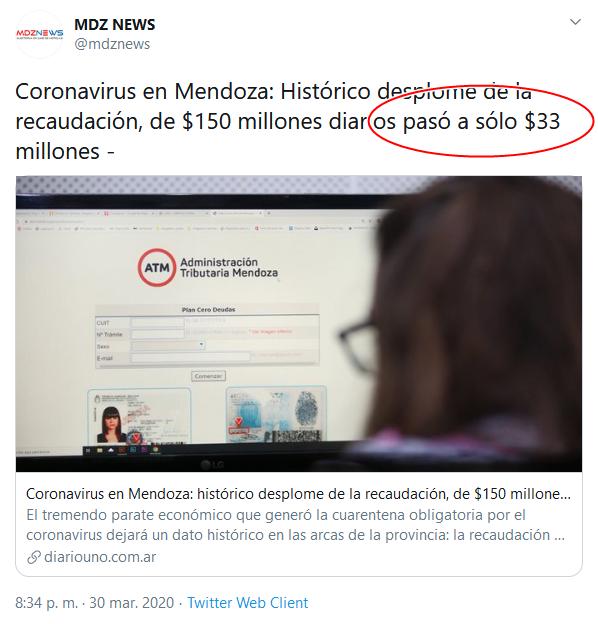 5a Screenshot_2020-04-02 (18) MDZ NEWS en Twitter Coronavirus en Mendoza Histórico desplome de la recaudación, de $150 millone[...]